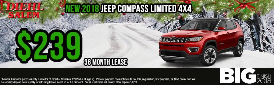 Diehl of Salem ohio chrysler jeep dodge ram new and used sales, service, parts, accessories, monthly specials NEW 2018 JEEP COMPASS LIMITED 4X4
