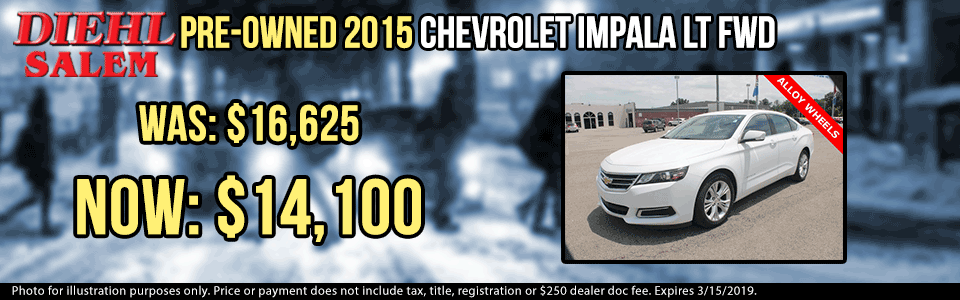 pre-owned vehicle specials used vehicle specials used specials pre-owned specials diehl automotive group salem ohio p0046 pre-owned 2015 chevy impala lt sedan