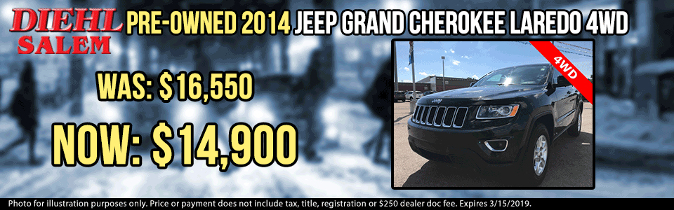 pre-owned vehicle specials used vehicle specials used specials pre-owned specials diehl automotive group salem ohio p0065 pre-owned 2014 jeep grand cherokee laredo suv