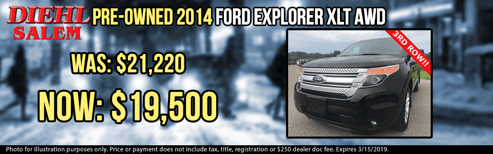 pre-owned vehicle specials used vehicle specials used specials pre-owned specials diehl automotive group salem ohio p0068 pre-owned 2014 ford explorer xlt awd