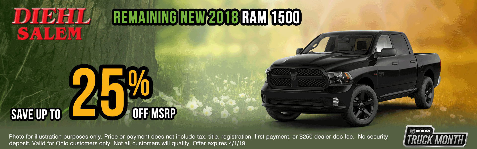 2018-ram Spring sales event ram truck month jeep specials Chrysler specials ram specials dodge specials mopar specials new vehicle specials Diehl automotive Diehl Salem Diehl of Salem specials Ohio specials