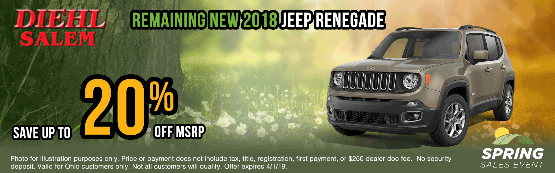 2018-renegades Spring sales event ram truck month jeep specials Chrysler specials ram specials dodge specials mopar specials new vehicle specials Diehl automotive Diehl Salem Diehl of Salem specials Ohio specials