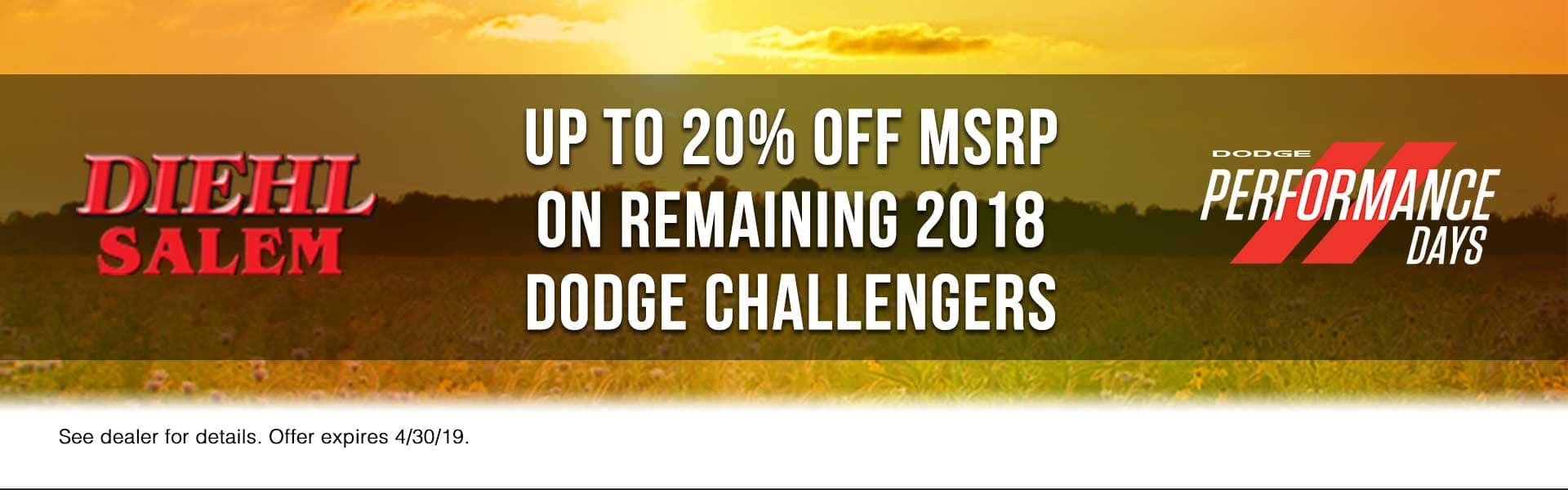 2018-challengers Spring sales event jeep freedom days dodge performance days new vehicle specials lease specials vehicle sales jeep special dodge special Chrysler special ram special diehl auto Salem Ohio