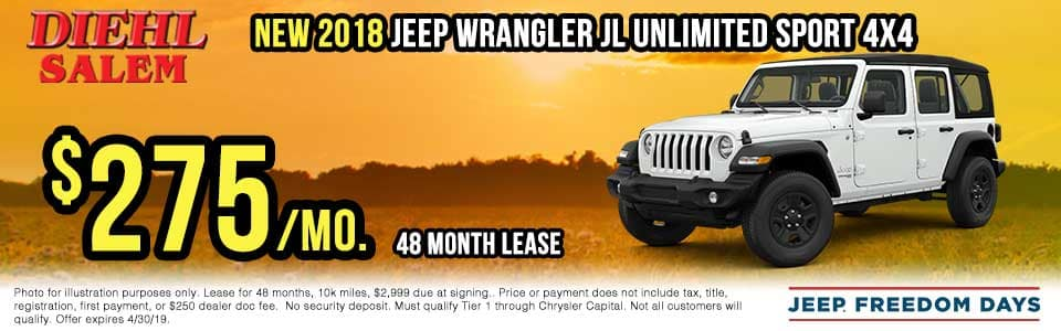 SJ1832-2018-jeep-wrangler-jl-unlimited Spring sales event jeep freedom days dodge performance days new vehicle specials lease specials vehicle sales jeep special dodge special Chrysler special ram special diehl auto Salem Ohio