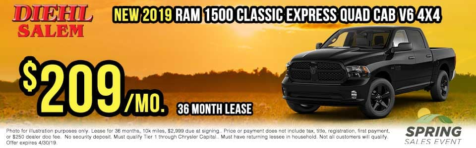 sr1926-2019-ram-classic-expreess Spring sales event jeep freedom days dodge performance days new vehicle specials lease specials vehicle sales jeep special dodge special Chrysler special ram special diehl auto Salem Ohio