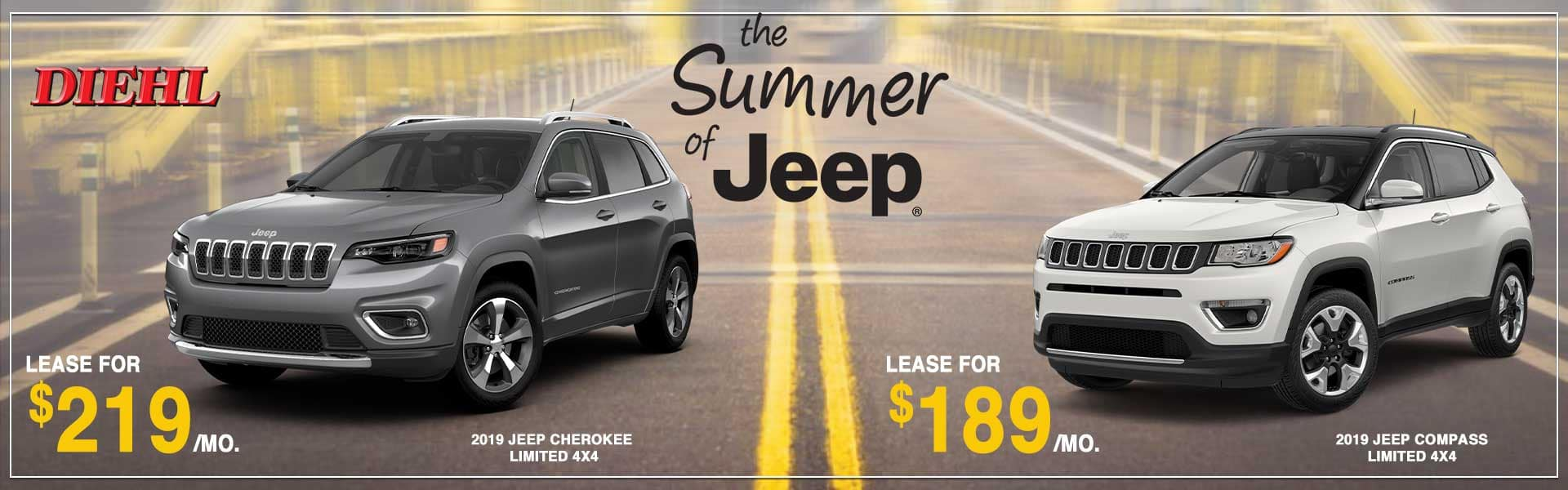 DIEHL AUTOMOTIVE trade in trade up sales event summer of jeep event summer clearance event jeep lease new vehicle special moon township GROVE CITY BUTLER ROBINSON SALEM OHIO Labor Day sales event