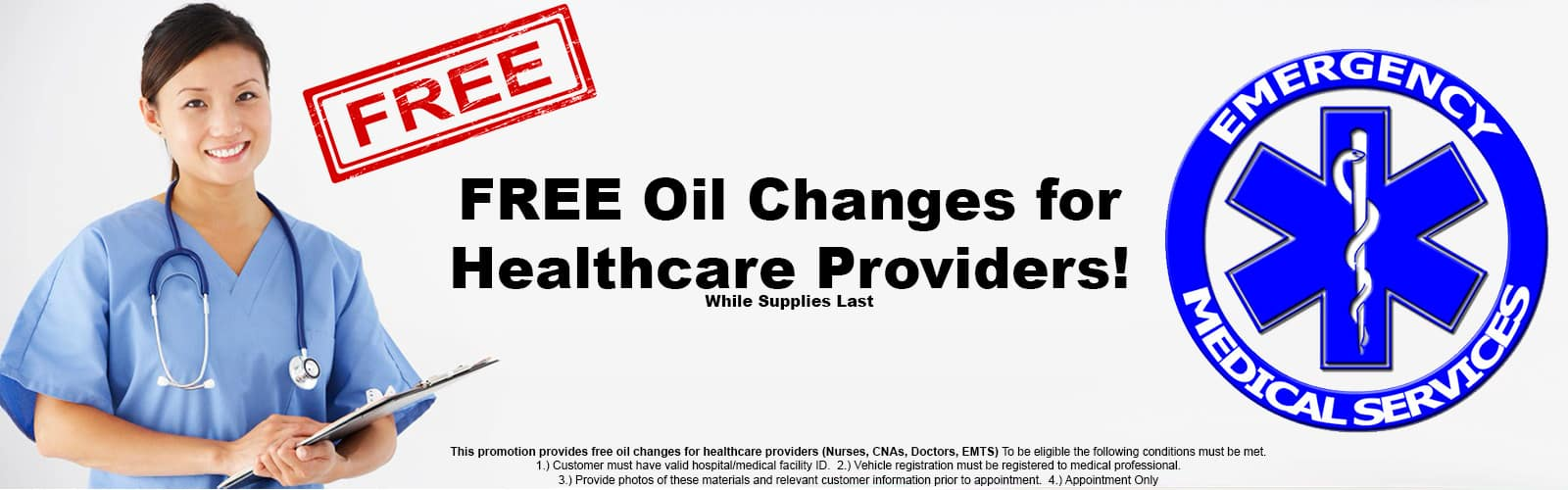 FREE Oil Changes for Healthcare Providers