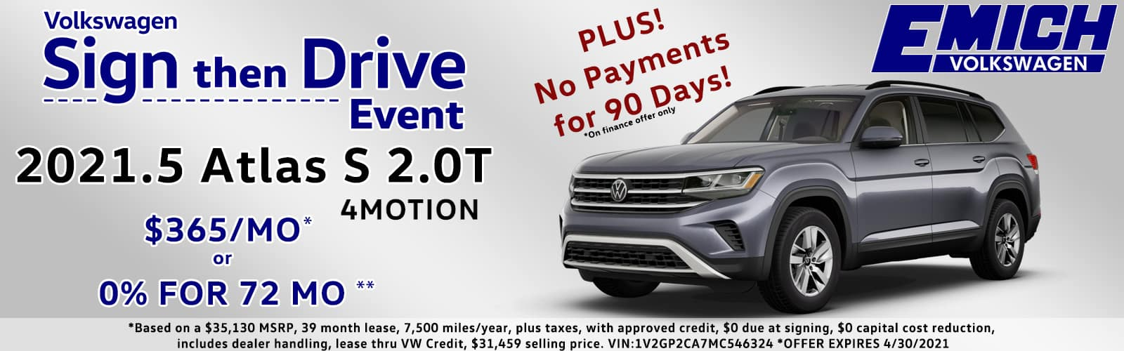 Sign Then Drive or 0% for 72 Months VW Atlas