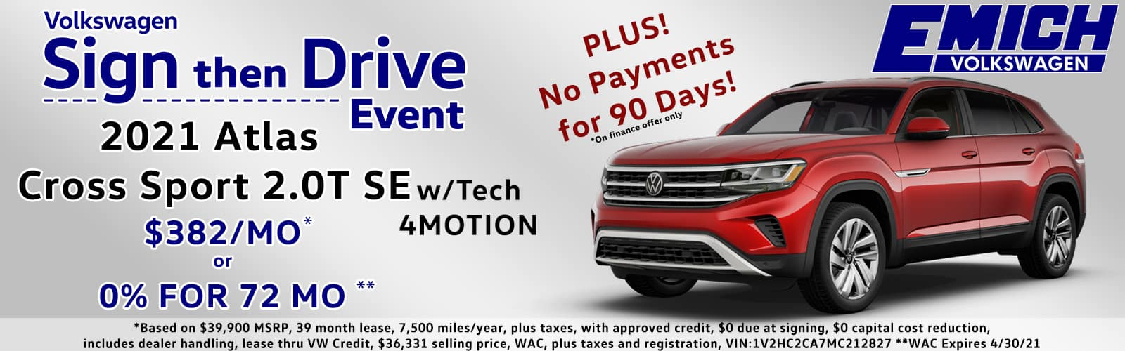 Sign Then Drive or 0% for 72 Months VW Atlas Cross Sport