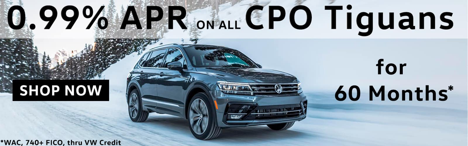 0% APR for 60 months on all CPO Tiguans