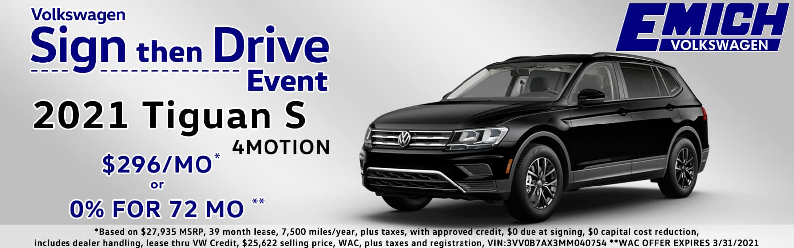 Sign Then Drive or 0% for 72 Months VW Tiguan