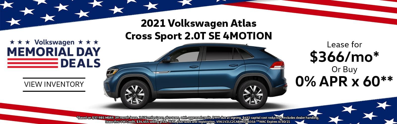 2021 VW Atlas Cross Sport Lease or Buy Special