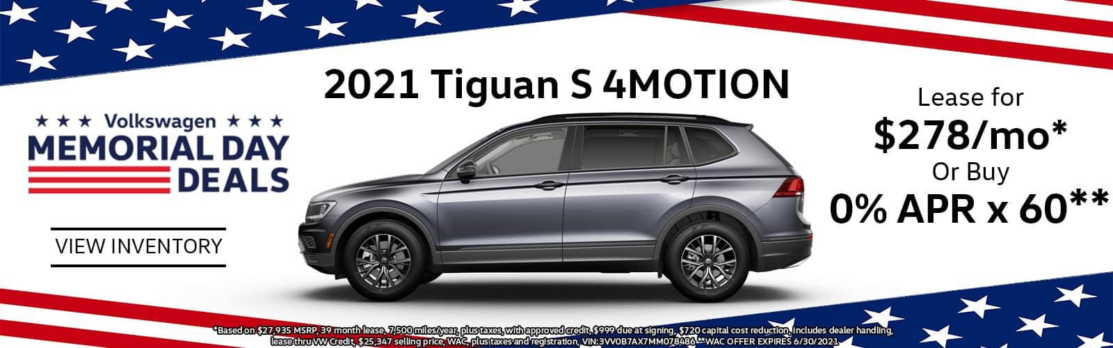 2021 VW Tiguan Lease or Buy Special