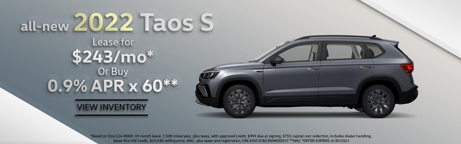 All-new 2022 VW Taos Lease or Purchase Special Denver