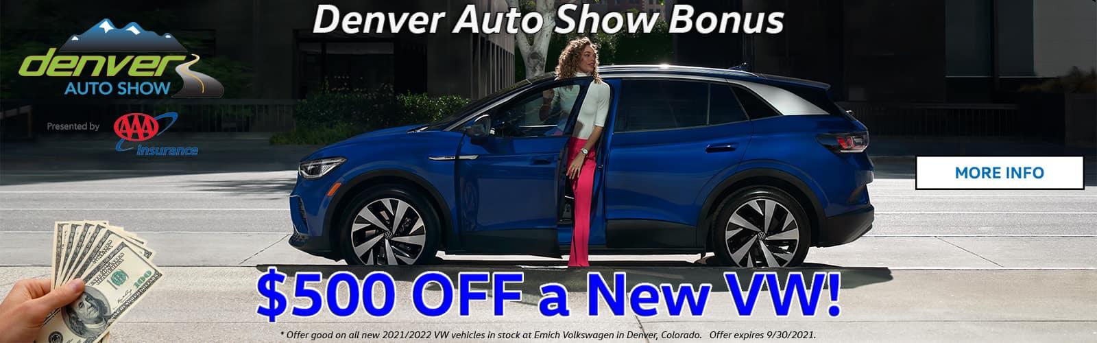 $500 Bonus on VW for 2021 Denver Auto Show