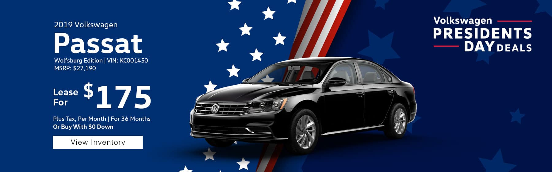 Lease the 2019 Volkswagen Passat Wolfsburg Edition for $175 plus tax for 36 months. $1,895 Down payment required.