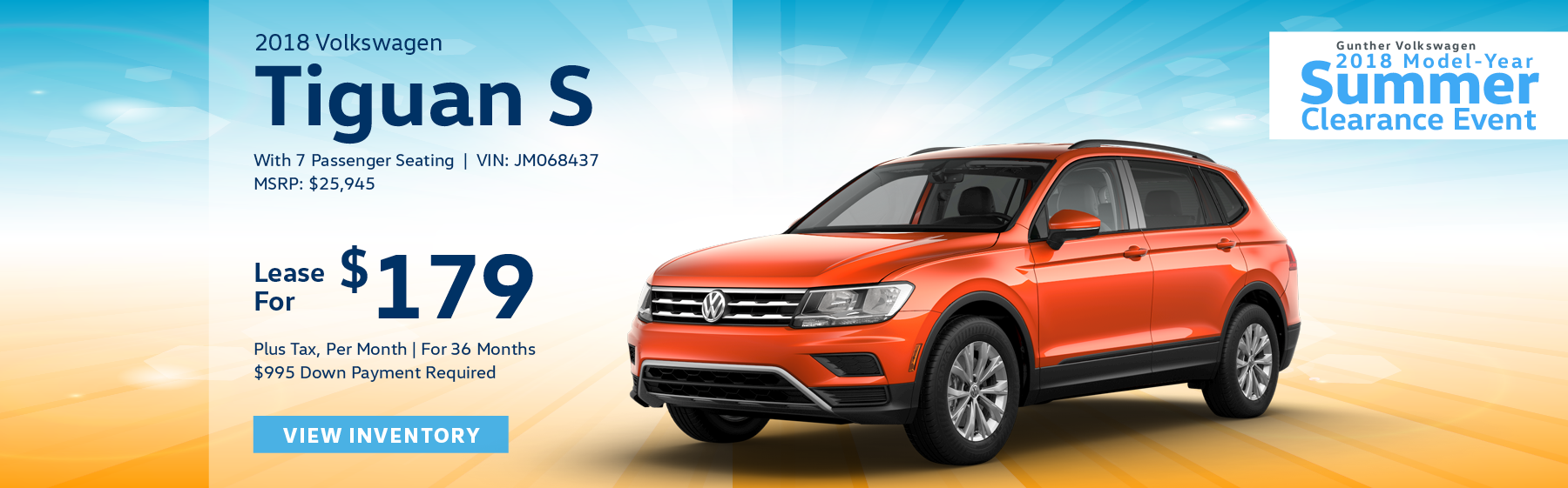 Lease the 2018 Volkswagen Tiguan S with 7 passenger seating for $179 per month, plus tax for 36 months. Click here to view inventory.