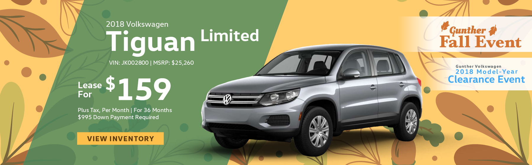 Lease the 2018 Volkswagen Tiguan Limited premium package with keyless access, leather trimmed steering wheel and shift knob, VW car-net app connect smartphone integration, for $159 per month, plus tax for 36 months. Click here to view inventory.