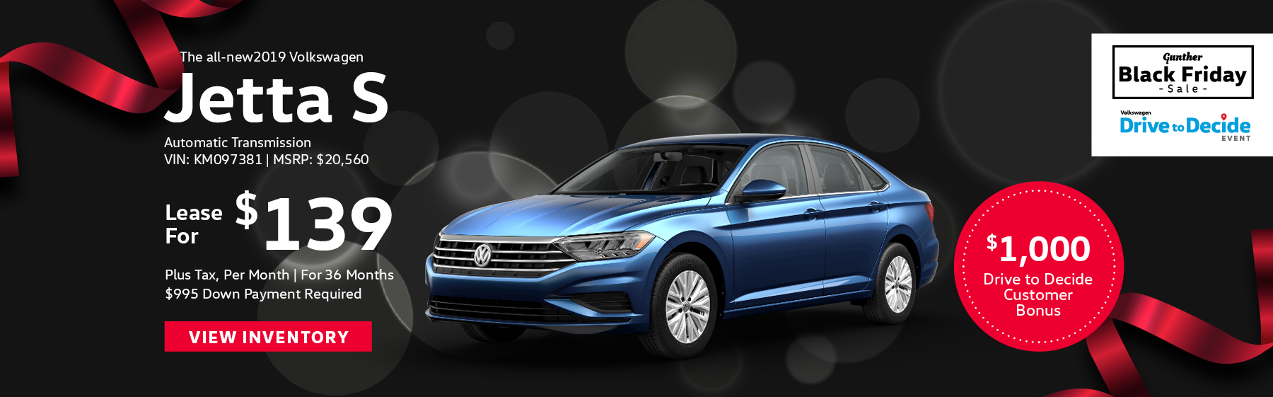Lease the all-new 2019 Volkswagen Jetta S, for $139 per month, plus tax for 36 months. Click here to view inventory.