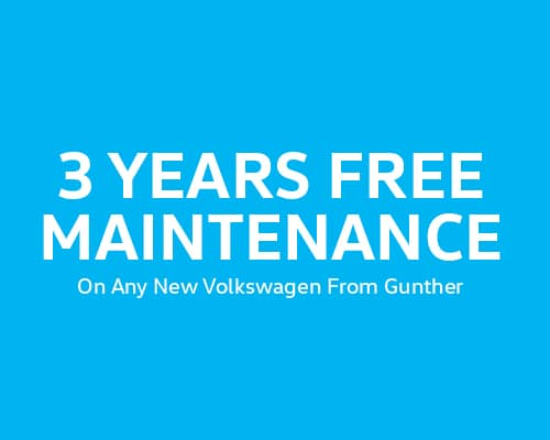 3 Years Free Maintenance On Any New Volkswagen From Gunther