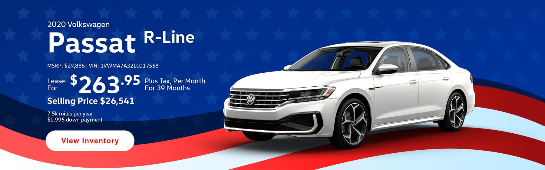 Lease the 2020 Passat R-Line for $263.95 per month, plus tax for 39 months.