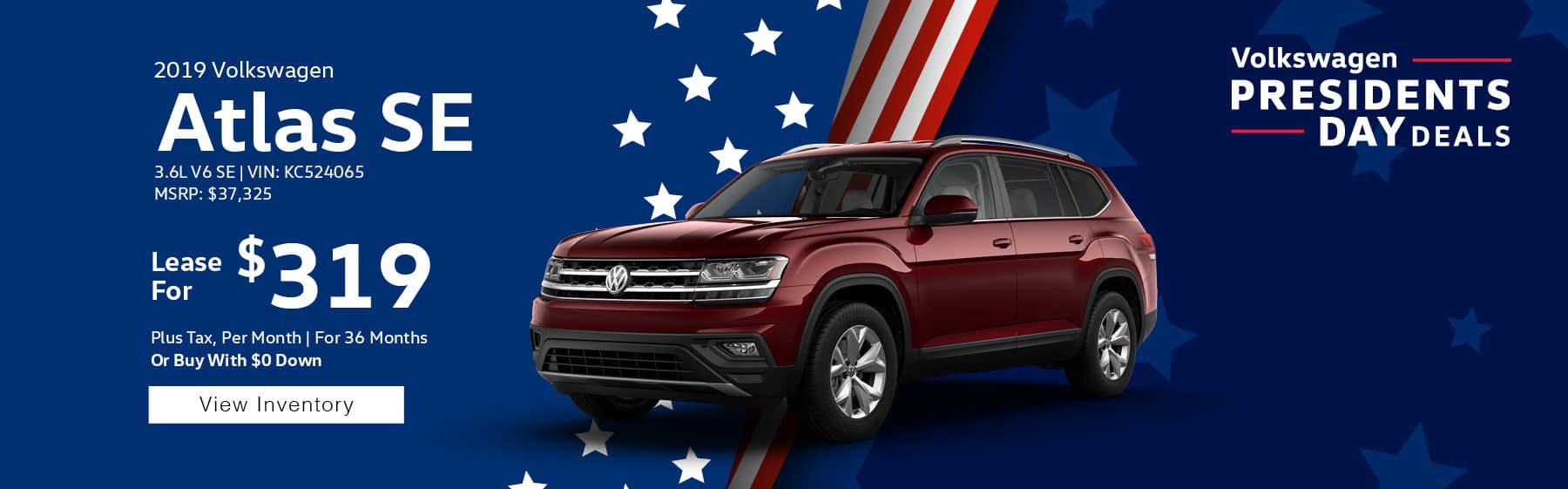 Lease the 2019 Volkswagen Atlas SE V6 for only $319 per month, plus tax for 39 months. $1,895 down payment required.