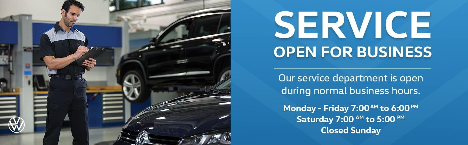 Service open for business. Our service department is open during normal business hours. Monday - Friday, 7:00AM to 5:00PM. Saturday 7:00AM to 5:00PM. Closed Sunday.