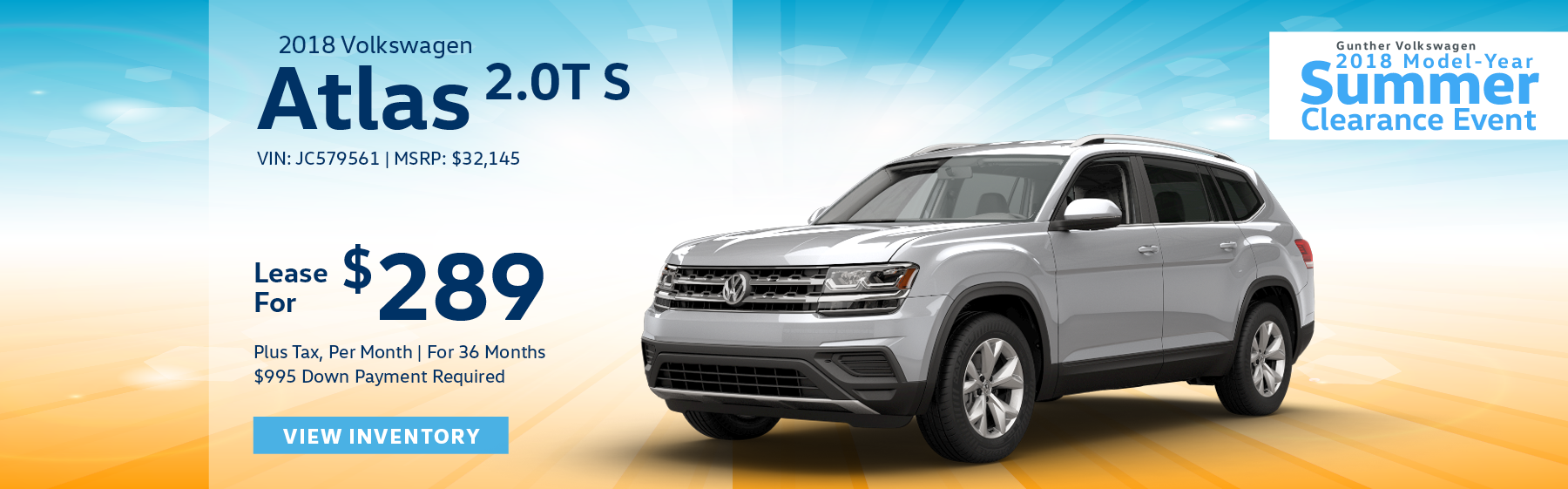 Lease the 2018 Volkswagen Atlas 2.0T S for $289 plus tax for 36 months. $995 Down payment required.