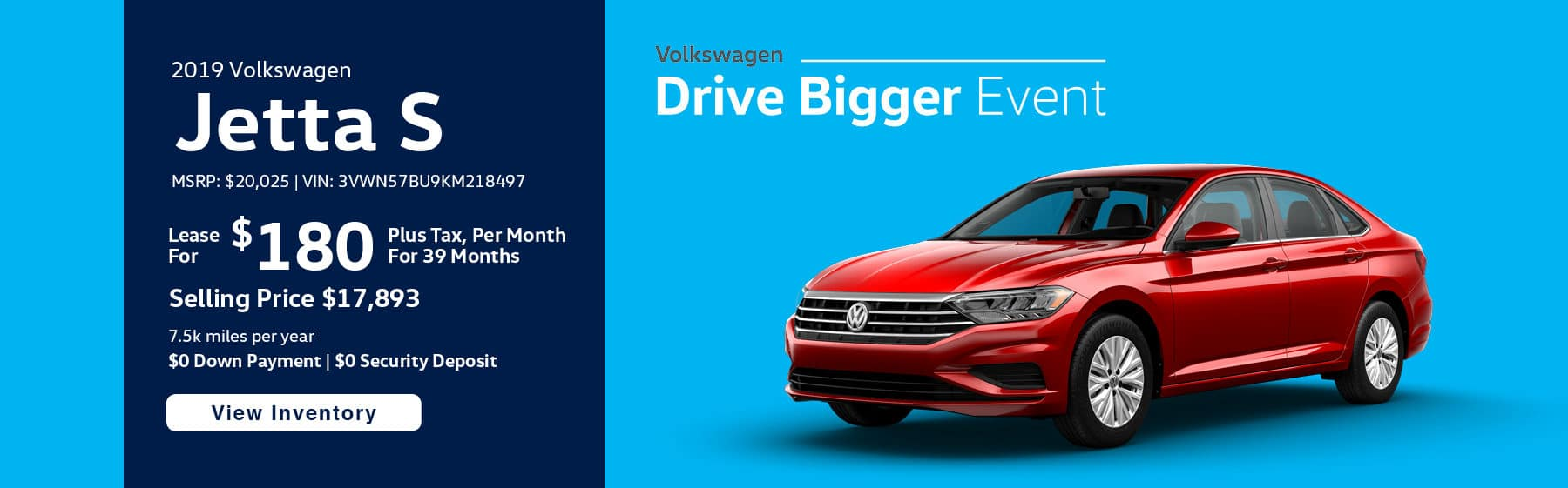 Lease the 2019 Jetta S for $169 per month, plus tax for 39 months.