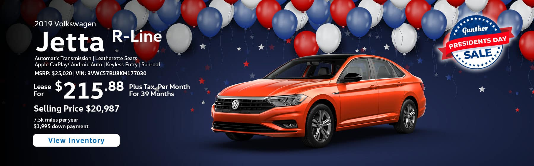 Lease the 2019 Jetta R-Line for $215.88 per month, plus tax for 39 months.