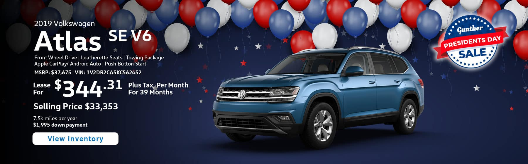 Lease the 2019 Atlas SE V6 for $344.31 per month, plus tax for 39 months.