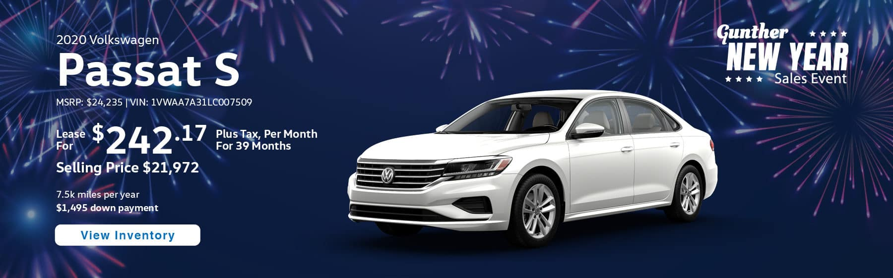 Lease the 2020 Passat S for $242.17 per month, plus tax for 39 months.