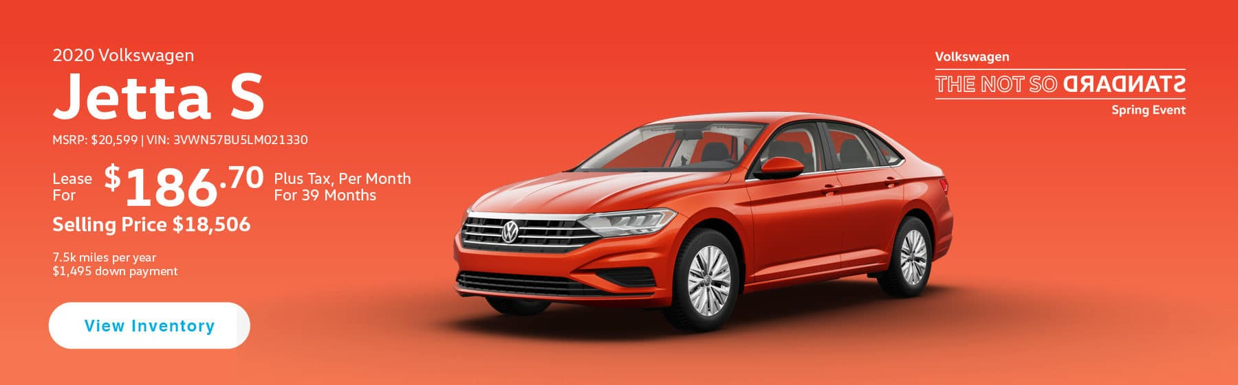 Lease the 2019 Jetta S for $186.70 per month, plus tax for 39 months.