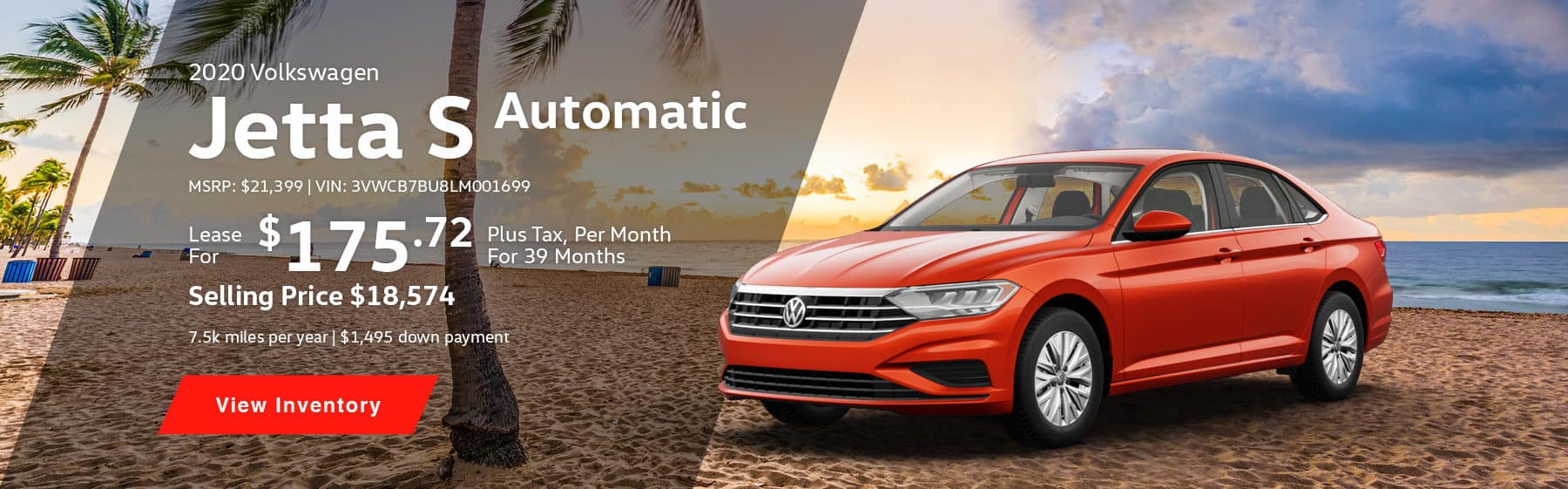 Lease the 2020 Jetta S Automatic for $175.72 per month, plus tax for 39 months.