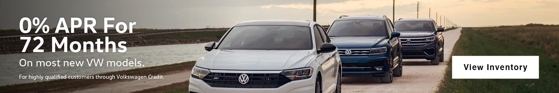 As Low As 0% APR for Up to 72 Months. 0% APR, no down payment required. Available on new, unused 2020 Tiguan, 2020 Jetta, 2020 Jetta GLI, 2020 Passat, 2020 Golf GTI, 2019 Golf SportWagen, 2019 Golf Alltrack, 2020 Golf ALL, 2019 Beetle, 2019 Golf R, 2020 Arteon, models financed by Volkswagen Credit through participating dealers only. Example: For 0% APR, monthly payment for every $1,000 you finance for 72 months is $13.89. Available on new, unused 2020 Atlas Cross Sport models financed by Volkswagen Credit through participating dealers only. Example: For 0% APR, monthly payment for every $1,000 you finance for 60 months is $16.67. Available on new, unused 2021 Atlas models financed by Volkswagen Credit through participating dealers only. Example: For 2.9% APR, monthly payment for every $1,000 you finance for 60 months is $17.92. Not all customers will qualify for credit approval or advertised APR. Offer ends November 2, 2020.