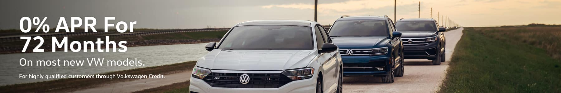 0% APR, no down payment required. Available on new, unused 2020 Tiguan, 2020 Jetta, 2020 Jetta GLI, 2020 Passat, 2020 Golf GTI, 2019 Golf SportWagen,  2019 Golf Alltrack, 2020 Golf ALL, 2019 Beetle, 2019 Golf R, 2020 Arteon, models financed by Volkswagen Credit through participating dealers only. Example: For 0% APR, monthly payment for every $1,000 you finance for 72 months is $13.89. Available on new, unused 2020 Atlas Cross Sport models financed by Volkswagen Credit through participating dealers only. Example: For 0% APR, monthly payment for every $1,000 you finance for 60 months is $16.67. Available on new, unused 2021 Atlas models financed by Volkswagen Credit through participating dealers only. Example: For 2.9% APR, monthly payment for every $1,000 you finance for 60 months is $17.92. Not all customers will qualify for credit approval or advertised APR. Offer ends November 2, 2020.