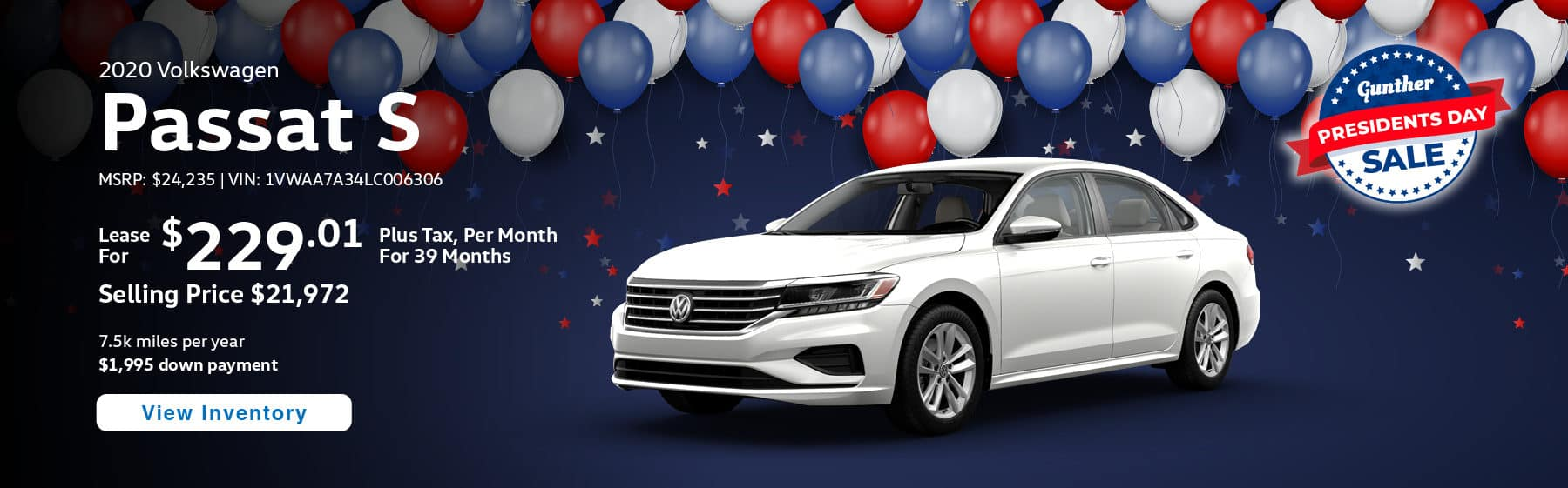 Lease the 2020 Passat S for $229.01 per month, plus tax for 39 months.