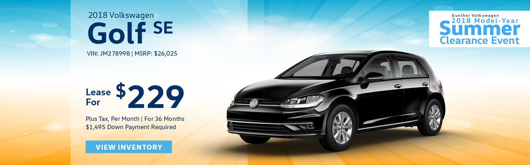 Lease the 2018 Volkswagen Golf SE for $229 per month, plus tax for 36 months. Click here to view inventory.