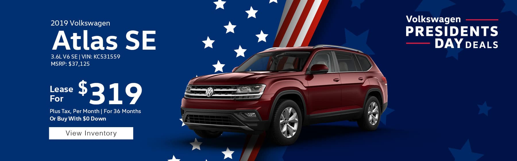 Lease the 2019 Volkswagen Atlas SE V6 for only $319 per month, plus tax for 39 months. $1,895 down payment required