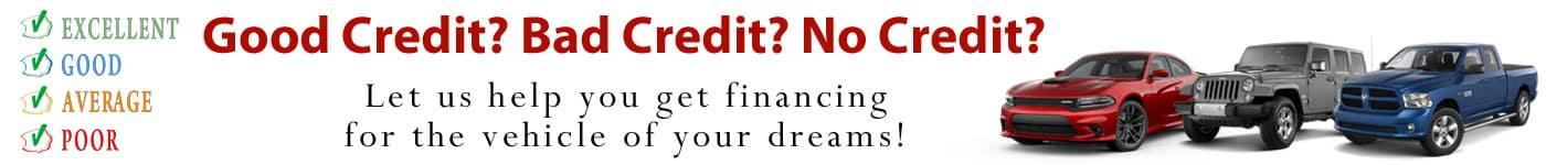 Good Credit? Bad Credit? No Credit?