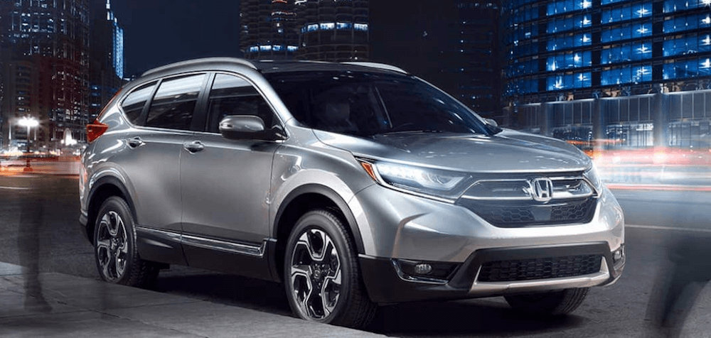 2019 Honda CR-V silver SUV on city street