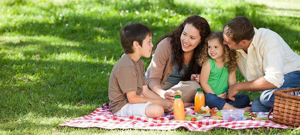 Happy family having a picnic on the grass with a red and white blanket