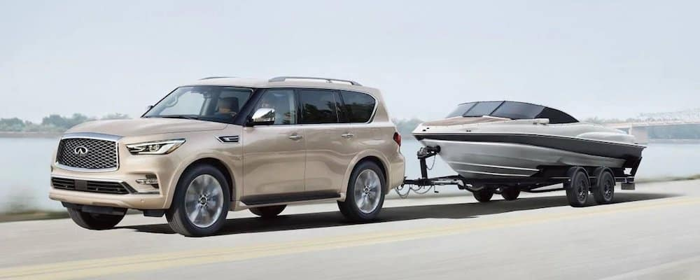 2019 qx80 towing boat on highway