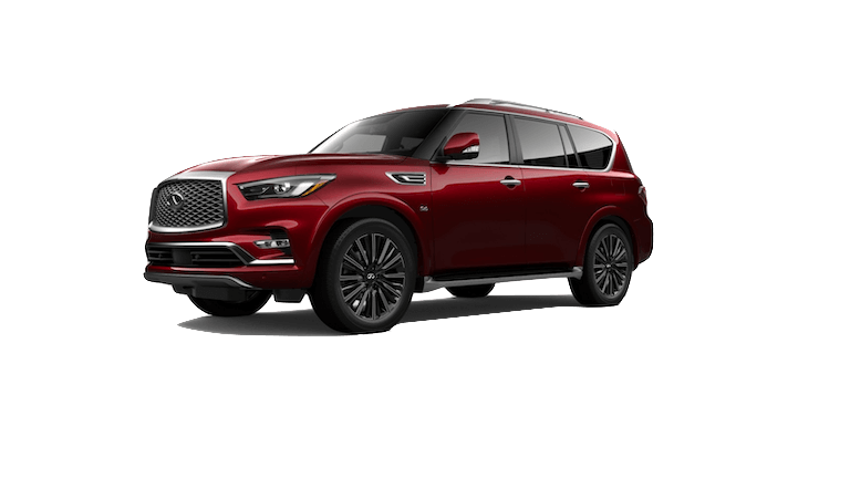 A red 2020 INFINITI QX80 Limited