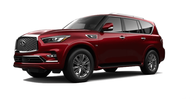 A red 2020 INFINITI QX80 Luxe