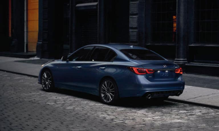 2021 INFINITI Q50 parked on the side streat on brick road