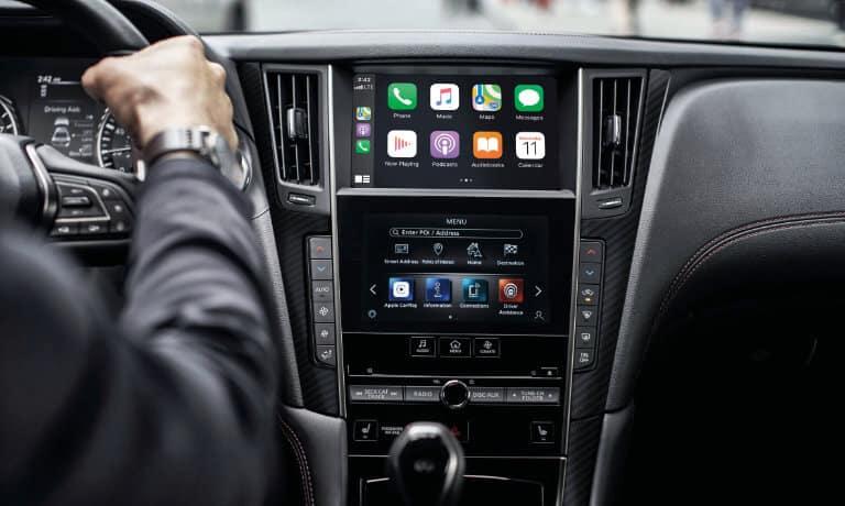 2021 INFINITI Q50 interior infotainment with Apple CarPlay