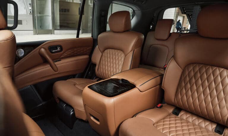 2021 INFINITI QX80 interior with leather seating