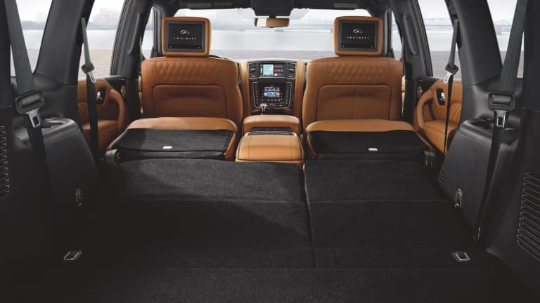 The seating arrangment of the 2021 INFINITI QX80