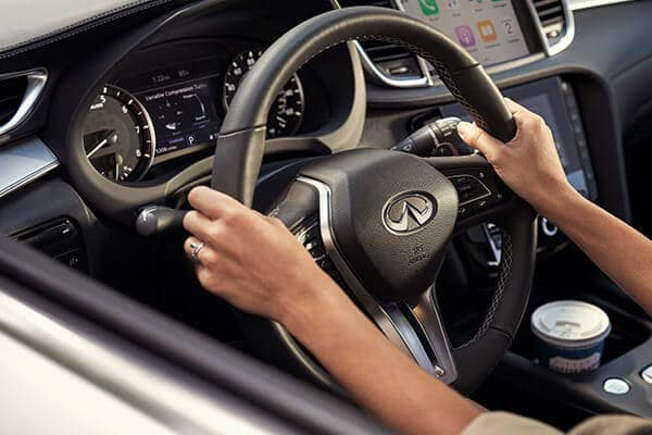 The steering wheel of the 2020 INFINITI QX50